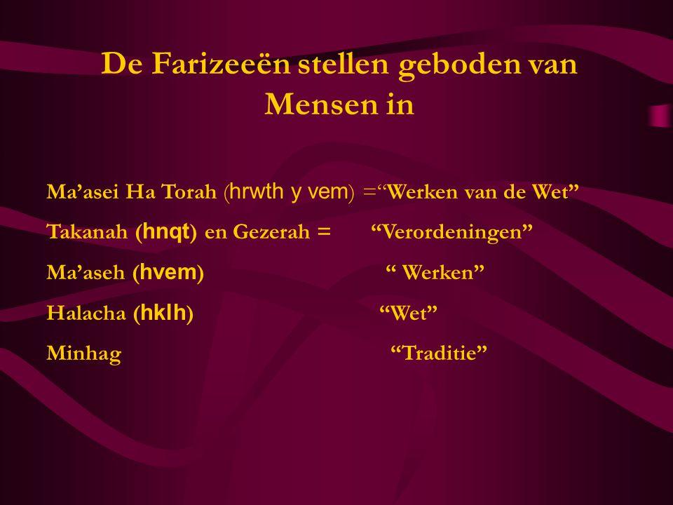 """De Farizeeën stellen geboden van Mensen in Ma'asei Ha Torah ( hrwth y vem ) =""""Werken van de Wet"""" Takanah ( hnqt ) en Gezerah = """"Verordeningen"""" Ma'aseh"""