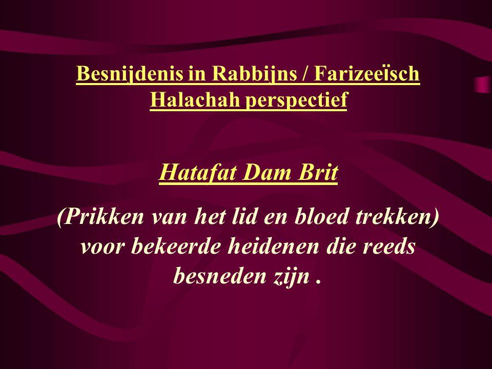 Besnijdenis in Rabbijns / Farizee ï sch Halachah perspectief Hatafat Dam Brit (Prikken van het lid en bloed trekken) voor bekeerde heidenen die reeds besneden zijn.