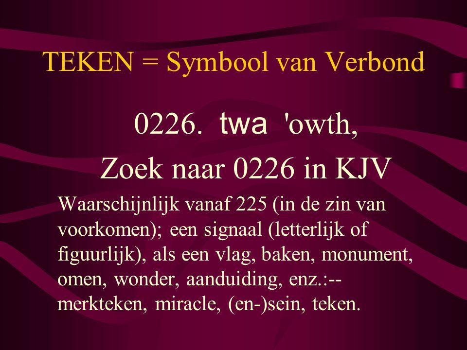 TEKEN = Symbool van Verbond 0226. twa 'owth, Zoek naar 0226 in KJV Waarschijnlijk vanaf 225 (in de zin van voorkomen); een signaal (letterlijk of figu