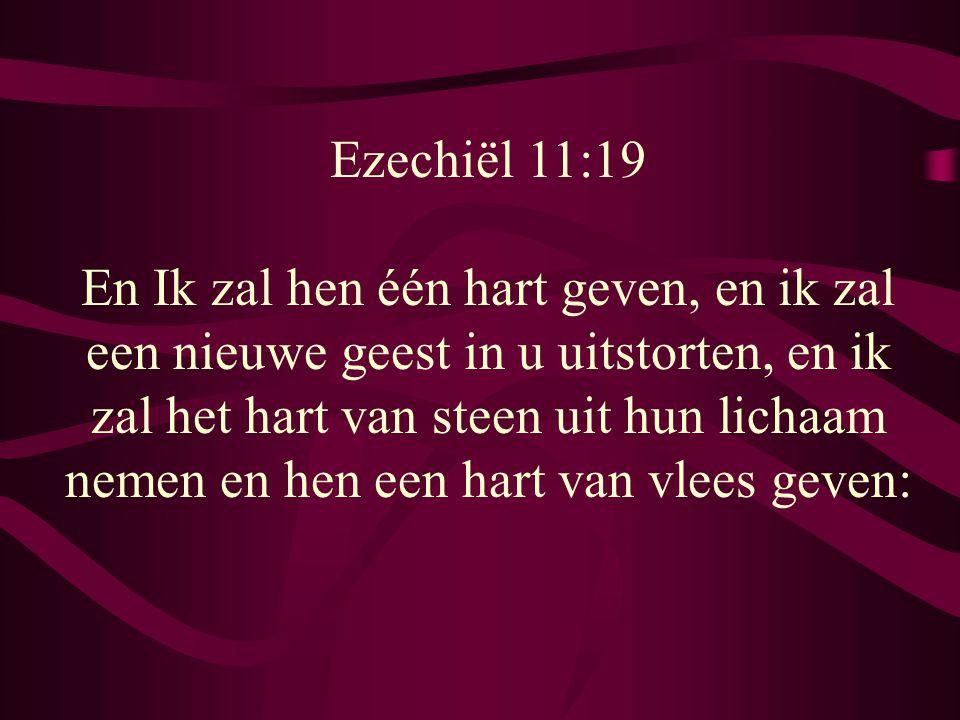 Ezechiël 11:19 En Ik zal hen één hart geven, en ik zal een nieuwe geest in u uitstorten, en ik zal het hart van steen uit hun lichaam nemen en hen een