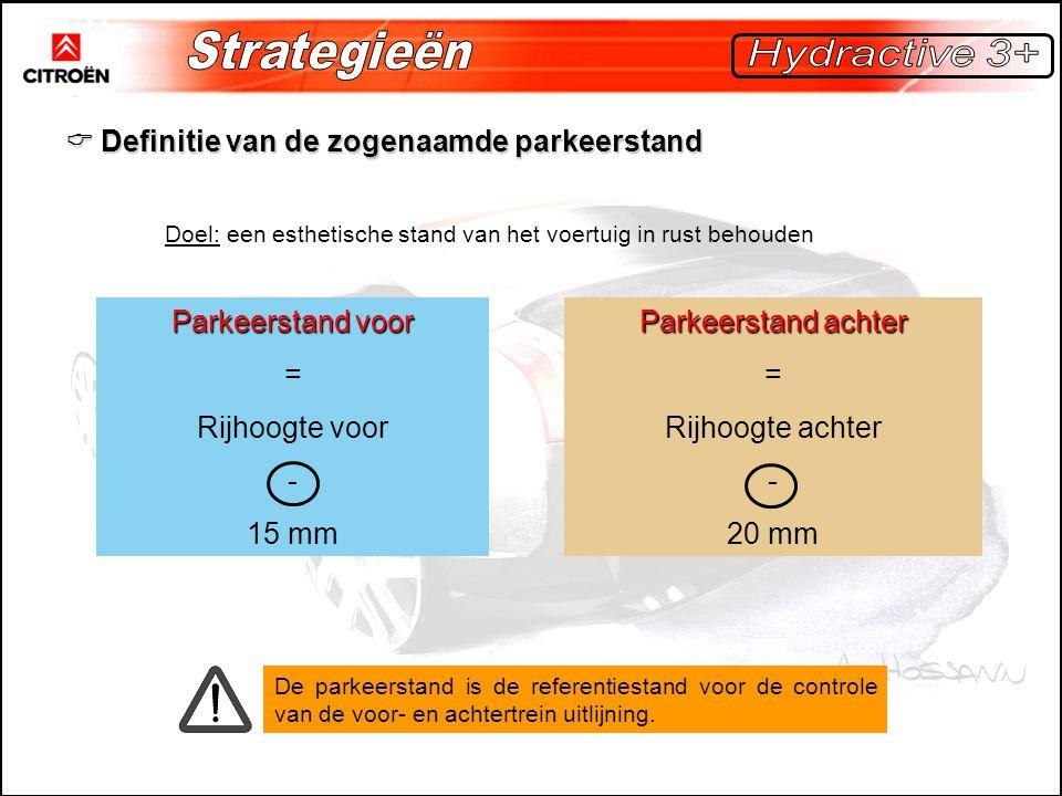  Definitie van de zogenaamde parkeerstand Doel: een esthetische stand van het voertuig in rust behouden Parkeerstand voor = Rijhoogte voor - 15 mm Parkeerstand achter = Rijhoogte achter - 20 mm De parkeerstand is de referentiestand voor de controle van de voor- en achtertrein uitlijning.
