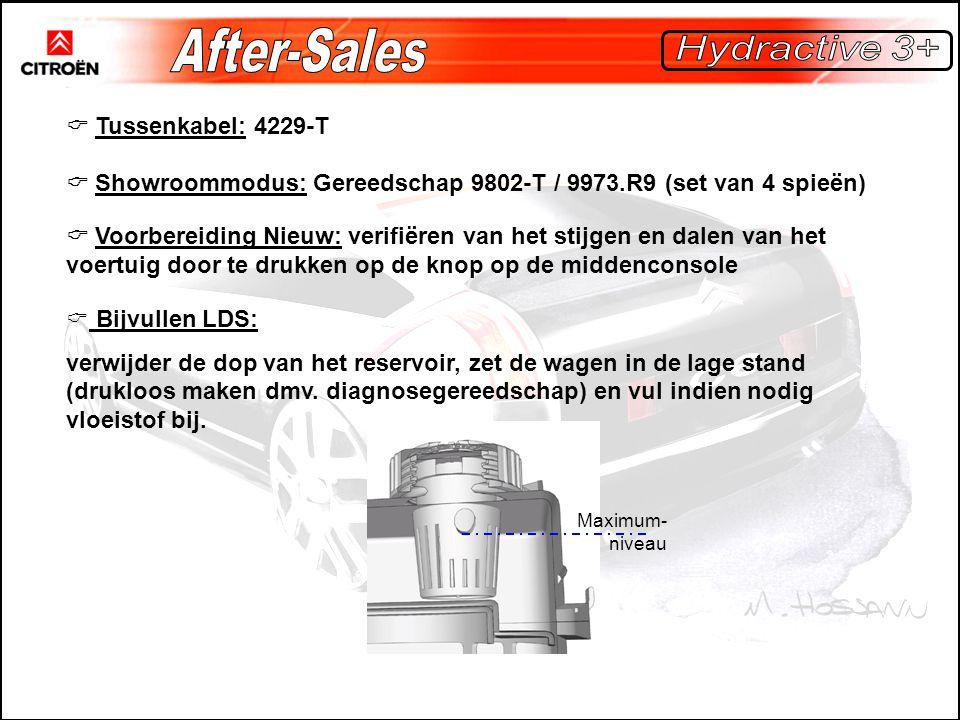  Tussenkabel: 4229-T  Showroommodus: Gereedschap 9802-T / 9973.R9 (set van 4 spieën)  Voorbereiding Nieuw: verifiëren van het stijgen en dalen van