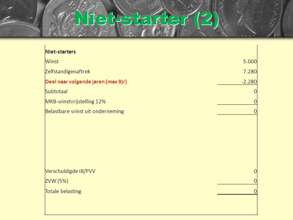 Niet-starter (2) Niet-starters Winst5.000 Zelfstandigenaftrek7.280 Deel naar volgende jaren (max 9jr)-2.280 Subtotaal0 MKB-winstvrijstelling 12%0 Belastbare winst uit onderneming0 Verschuldigde IB/PVV0 ZVW (5%)0 Totale belasting0