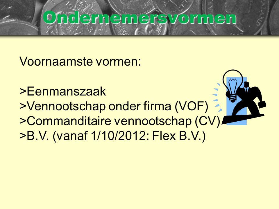 Ondernemersvormen Voornaamste vormen: >Eenmanszaak >Vennootschap onder firma (VOF) >Commanditaire vennootschap (CV) >B.V.