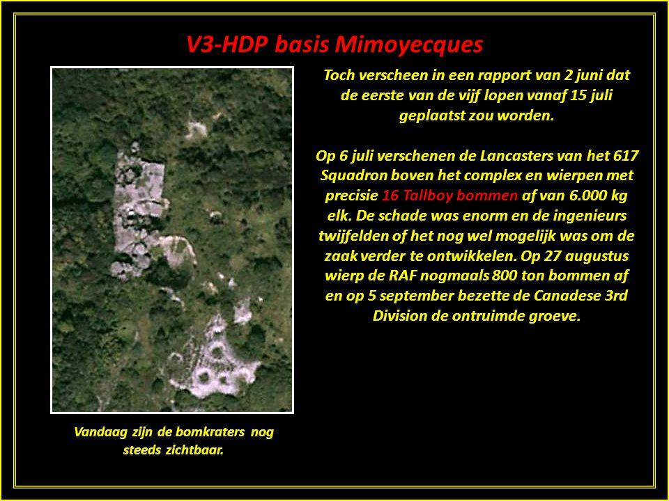 """V3-HDP basis Mimoyecques Ee Lancaster bommenwerper laat een Tallboy (*) vallen. (*) De Tallboy, gemiddeld gewicht 6.000 kg, was een """"aardbevingsbom"""" o"""
