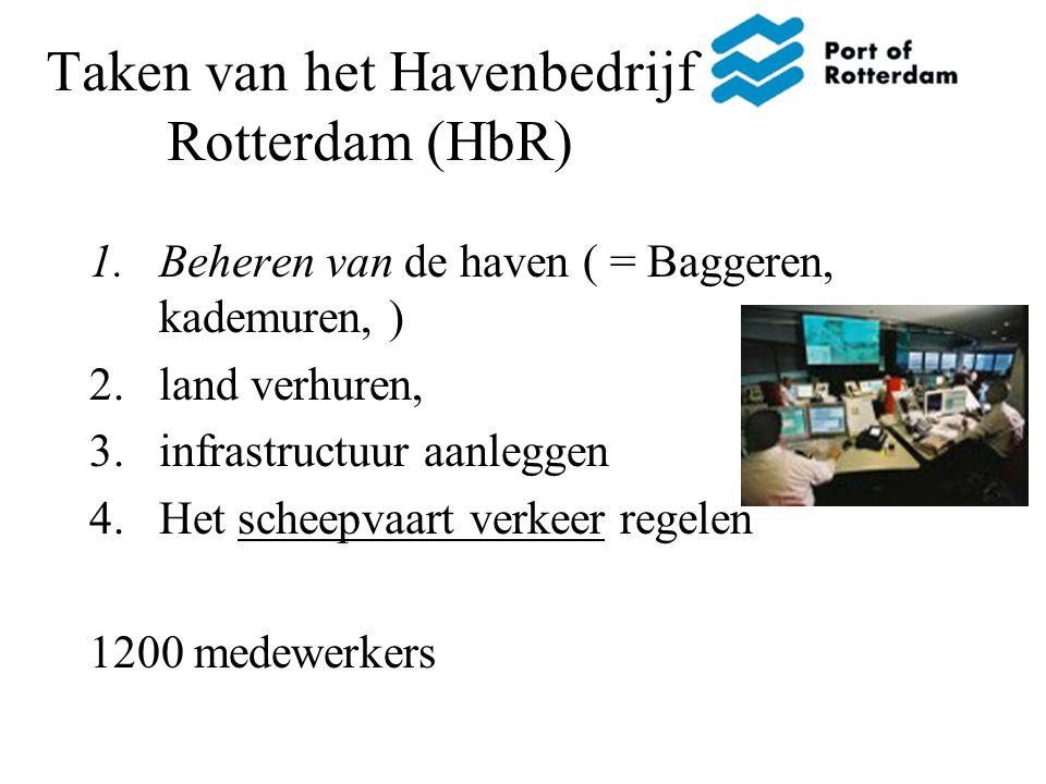 Taken van het Havenbedrijf Rotterdam (HbR) 1.Beheren van de haven ( = Baggeren, kademuren, ) 2.land verhuren, 3.infrastructuur aanleggen 4.Het scheepv