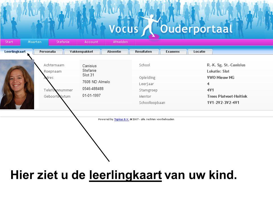 Canisius Stefanie Slot 31 7608 ND Almelo 0546-488488 01-01-1997 Hier ziet u de leerlingkaart van uw kind.