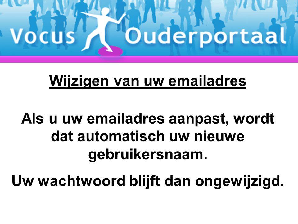 Als u uw emailadres aanpast, wordt dat automatisch uw nieuwe gebruikersnaam. Uw wachtwoord blijft dan ongewijzigd. Wijzigen van uw emailadres