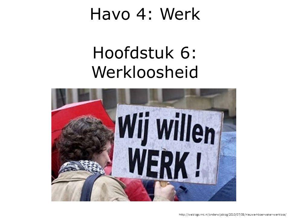 Havo 4: Werk Hoofdstuk 6: Werkloosheid http://weblogs.nrc.nl/onderwijsblog/2010/07/08/nieuwe-hboer-vaker-werkloos/