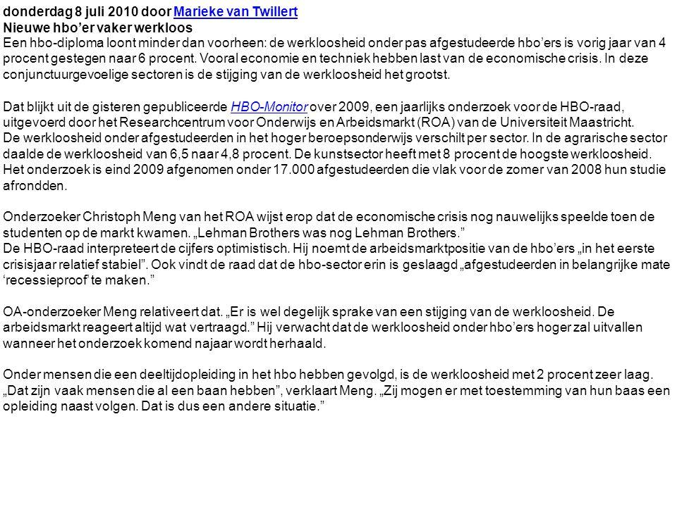 donderdag 8 juli 2010 door Marieke van TwillertMarieke van Twillert Nieuwe hbo'er vaker werkloos Een hbo-diploma loont minder dan voorheen: de werkloosheid onder pas afgestudeerde hbo'ers is vorig jaar van 4 procent gestegen naar 6 procent.
