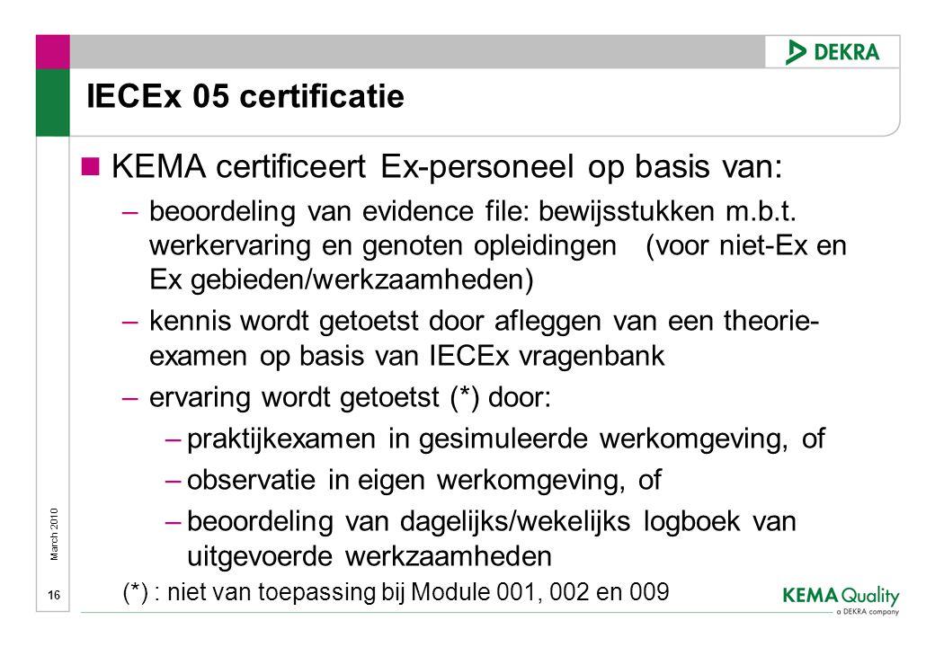 March 2010 16 IECEx 05 certificatie  KEMA certificeert Ex-personeel op basis van: –beoordeling van evidence file: bewijsstukken m.b.t.