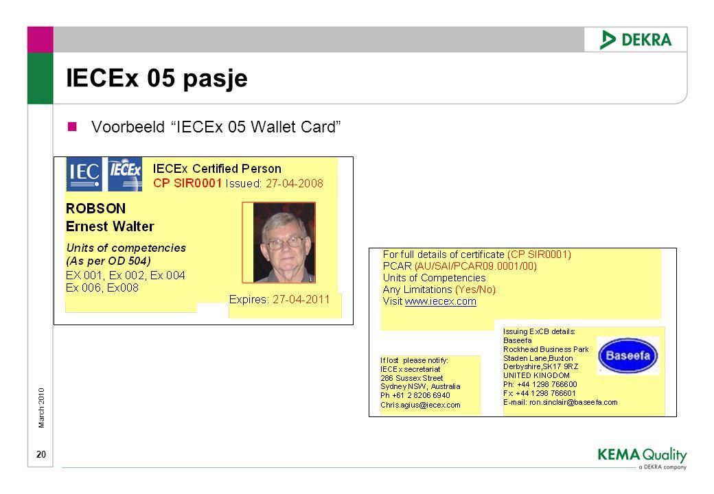March 2010 20 IECEx 05 pasje  Voorbeeld IECEx 05 Wallet Card