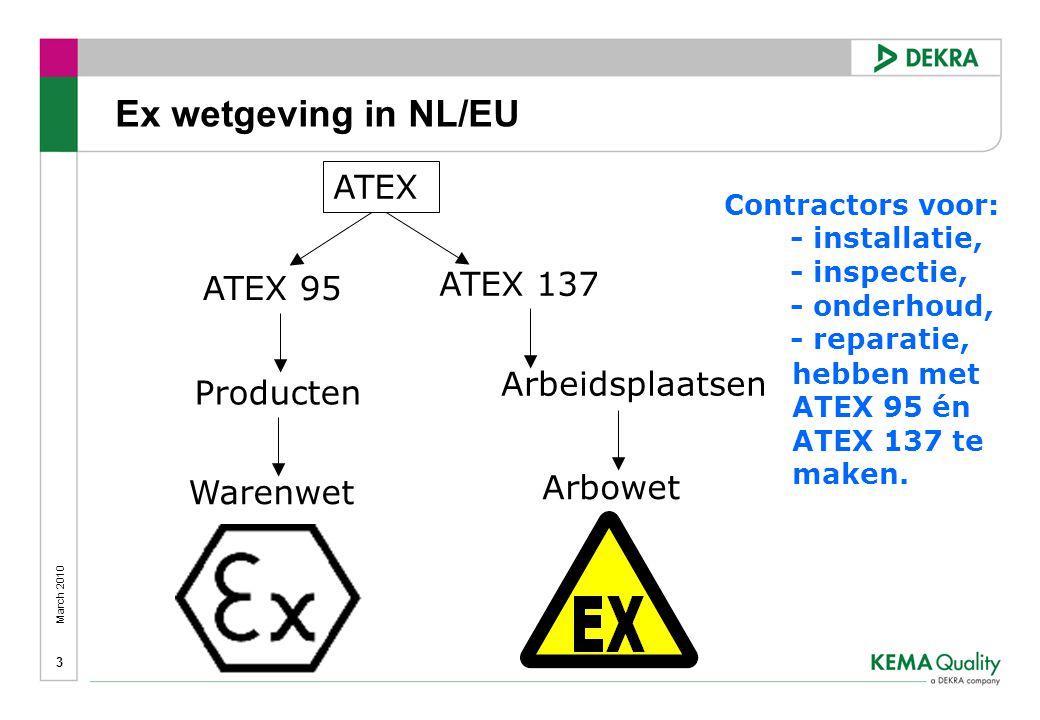 March 2010 3 ATEX ATEX 95 ATEX 137 Producten Arbeidsplaatsen Warenwet Arbowet Ex wetgeving in NL/EU Contractors voor: - installatie, - inspectie, - onderhoud, - reparatie, hebben met ATEX 95 én ATEX 137 te maken.