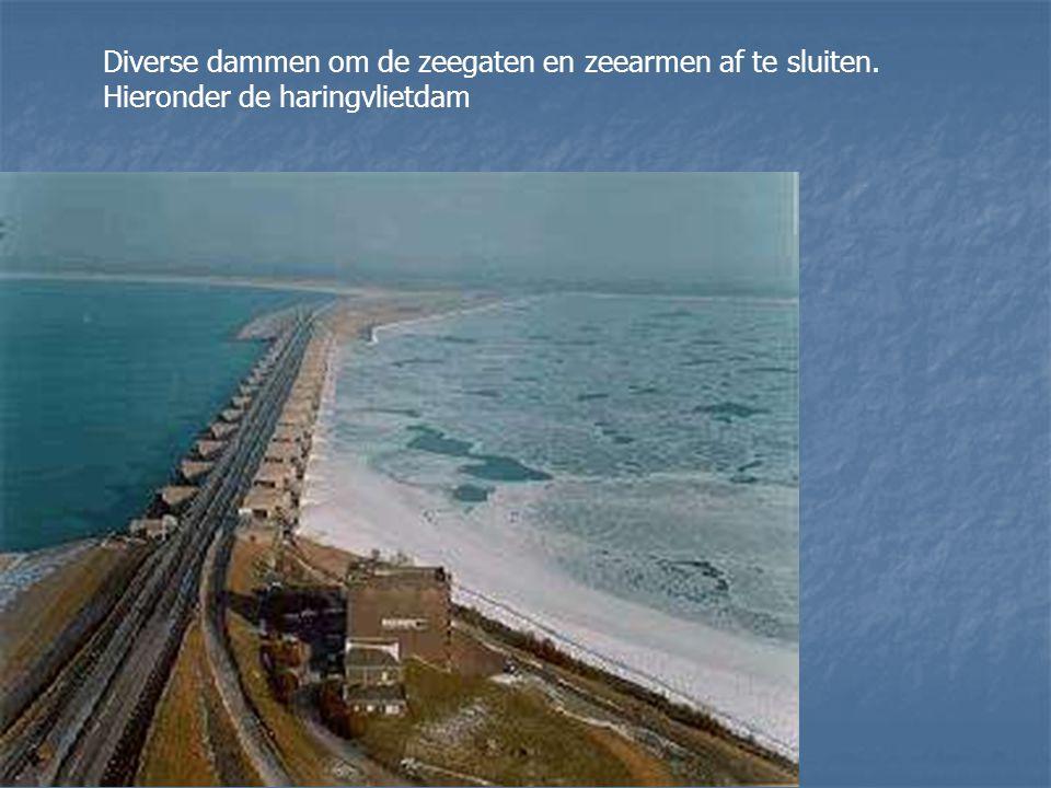 Diverse dammen om de zeegaten en zeearmen af te sluiten. Hieronder de haringvlietdam