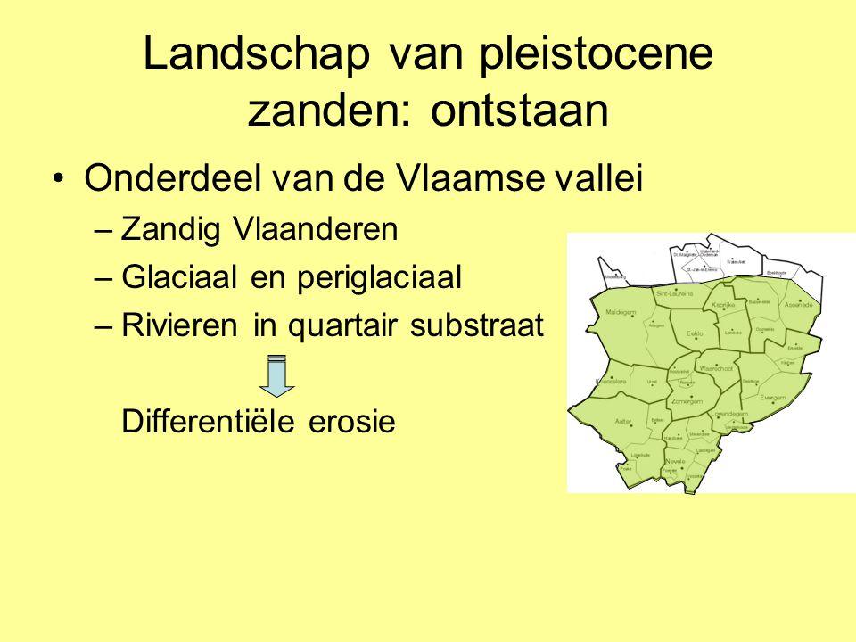 Landschap van pleistocene zanden: ontstaan •Onderdeel van de Vlaamse vallei –Zandig Vlaanderen –Glaciaal en periglaciaal –Rivieren in quartair substra