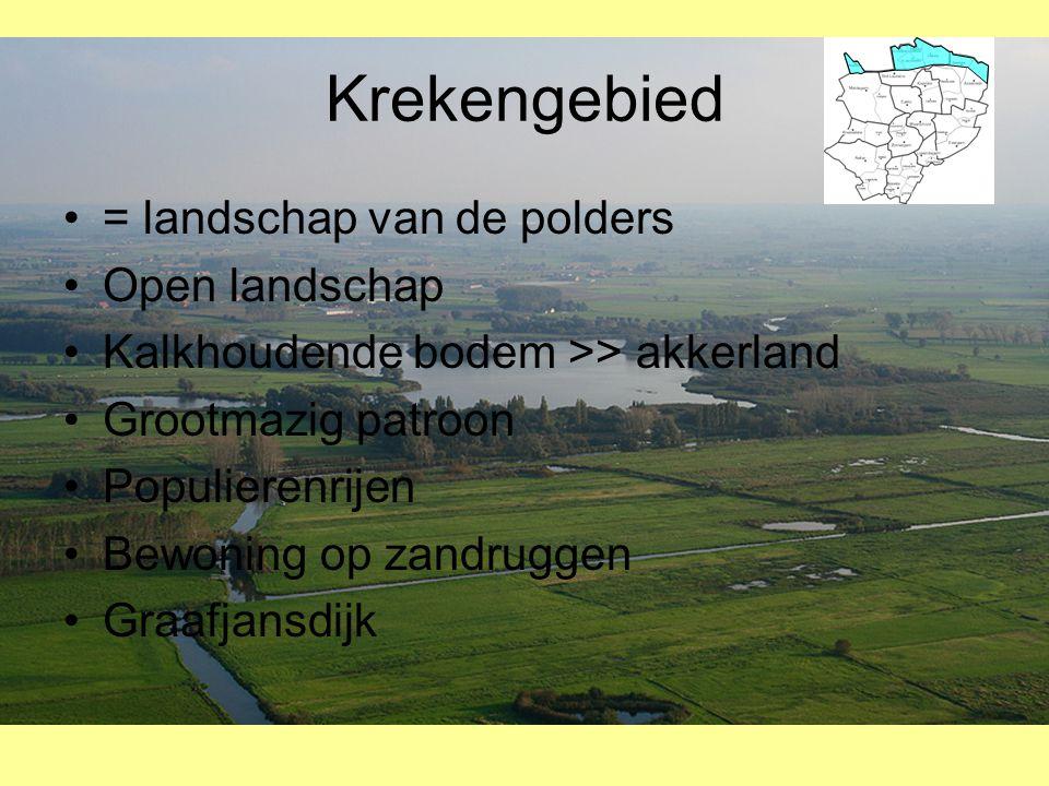 Krekengebied •= landschap van de polders •Open landschap •Kalkhoudende bodem >> akkerland •Grootmazig patroon •Populierenrijen •Bewoning op zandruggen