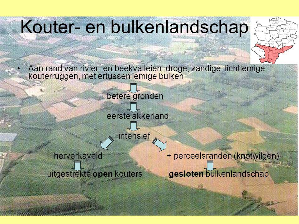 Kouter- en bulkenlandschap •Aan rand van rivier- en beekvalleien: droge, zandige, lichtlemige kouterruggen, met ertussen lemige bulken betere gronden