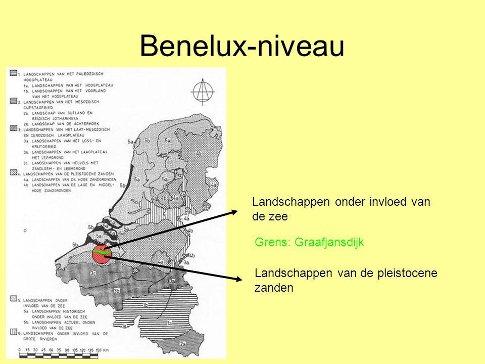 Benelux-niveau Landschappen onder invloed van de zee Landschappen van de pleistocene zanden Grens: Graafjansdijk