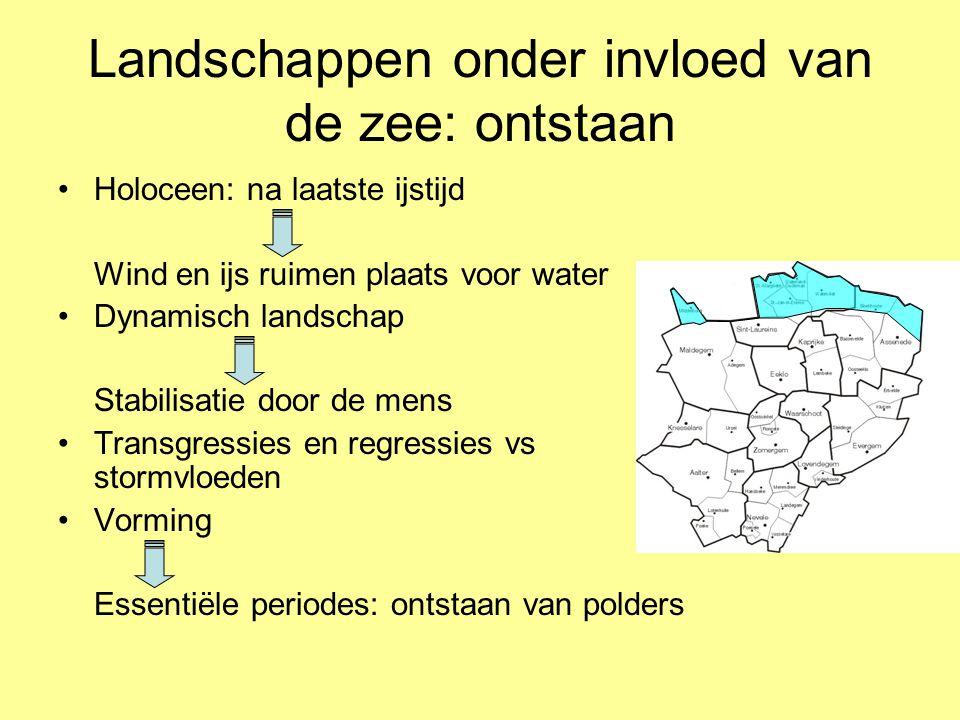 Landschappen onder invloed van de zee: ontstaan •Holoceen: na laatste ijstijd Wind en ijs ruimen plaats voor water •Dynamisch landschap Stabilisatie d