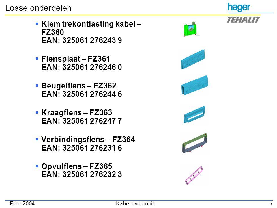 Febr.2004Kabelinvoerunit 9 Losse onderdelen  Klem trekontlasting kabel – FZ360 EAN: 325061 276243 9  Flensplaat – FZ361 EAN: 325061 276246 0  Beugelflens – FZ362 EAN: 325061 276244 6  Kraagflens – FZ363 EAN: 325061 276247 7  Verbindingsflens – FZ364 EAN: 325061 276231 6  Opvulflens – FZ365 EAN: 325061 276232 3