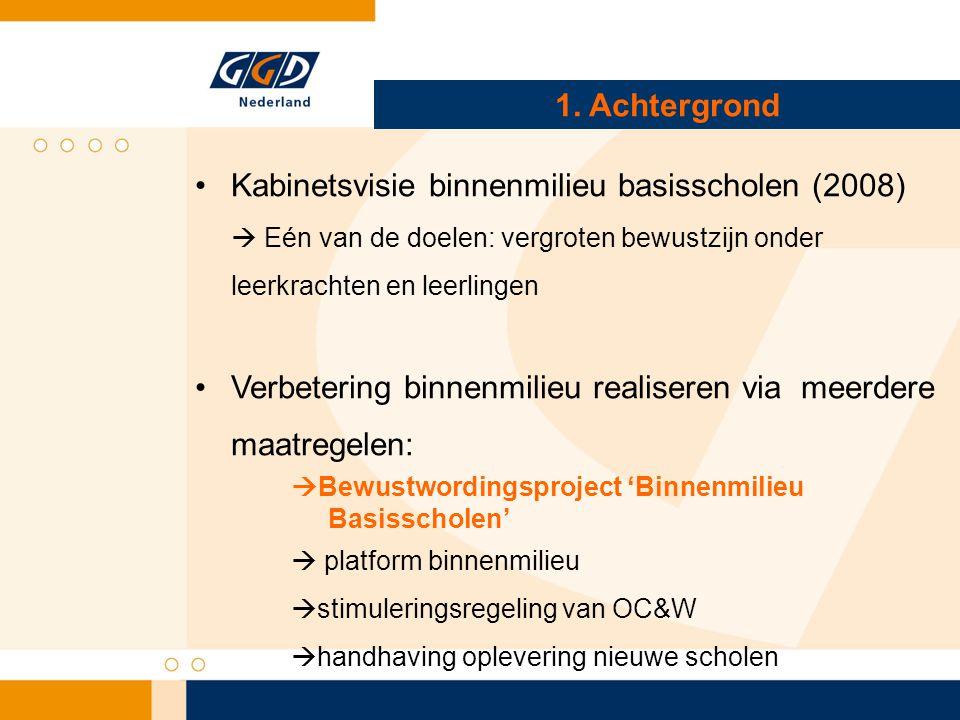 Inbedding binnenmilieu PO Inbedding realiseren via o.a.:  aanhaken op reguliere structuren binnen de GGD Medisch milieukundigen (MMK), Jeugdgezondheidszorg (JGZ)  vergroten van bewustzijn en kennis in het onderwijs en overige landelijke organisaties (RIVM, bouwsector etc.) Vignet Gezonde school (themacertificaat binnenmilieu) E-learning Interventie database CGL  Aansluiten op landelijke/lokale initiatieven  Voorzetten van huidige binnenmilieuprojecten