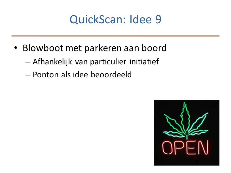QuickScan: Idee 9 • Blowboot met parkeren aan boord – Afhankelijk van particulier initiatief – Ponton als idee beoordeeld