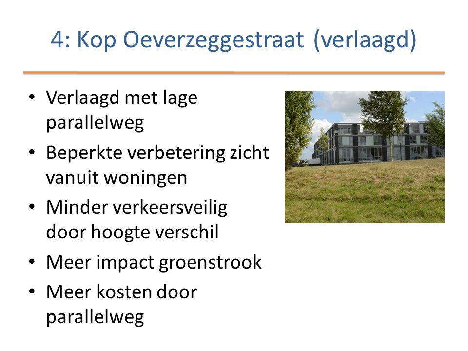 • Verlaagd met lage parallelweg • Beperkte verbetering zicht vanuit woningen • Minder verkeersveilig door hoogte verschil • Meer impact groenstrook • Meer kosten door parallelweg