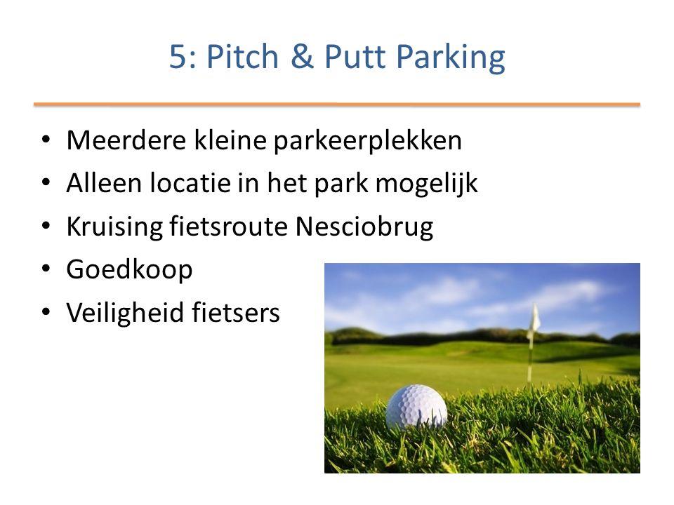 • Meerdere kleine parkeerplekken • Alleen locatie in het park mogelijk • Kruising fietsroute Nesciobrug • Goedkoop • Veiligheid fietsers