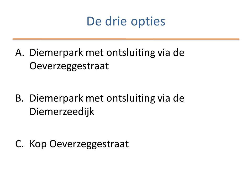 De drie opties A.Diemerpark met ontsluiting via de Oeverzeggestraat B.Diemerpark met ontsluiting via de Diemerzeedijk C.Kop Oeverzeggestraat