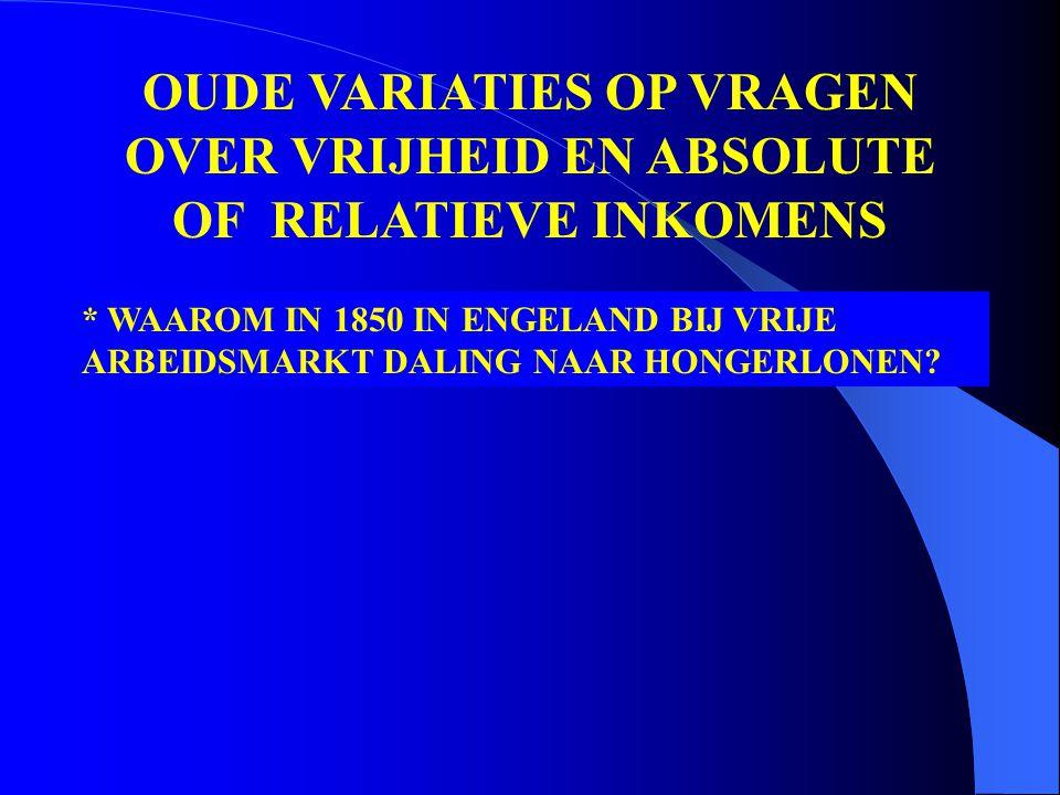 * WAAROM IN 1850 IN ENGELAND BIJ VRIJE ARBEIDSMARKT DALING NAAR HONGERLONEN