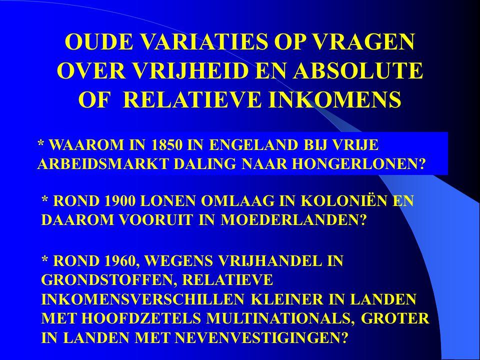 OUDE VARIATIES OP VRAGEN OVER VRIJHEID EN ABSOLUTE OF RELATIEVE INKOMENS * WAAROM IN 1850 IN ENGELAND BIJ VRIJE ARBEIDSMARKT DALING NAAR HONGERLONEN.