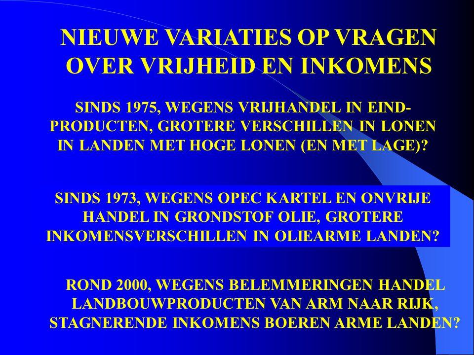 NIEUWE VARIATIES OP VRAGEN OVER VRIJHEID EN INKOMENS SINDS 1975, WEGENS VRIJHANDEL IN EIND- PRODUCTEN, GROTERE VERSCHILLEN IN LONEN IN LANDEN MET HOGE LONEN (EN MET LAGE).