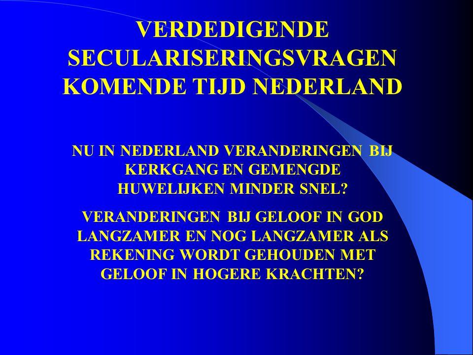 VERDEDIGENDE SECULARISERINGSVRAGEN KOMENDE TIJD NEDERLAND NU IN NEDERLAND VERANDERINGEN BIJ KERKGANG EN GEMENGDE HUWELIJKEN MINDER SNEL.