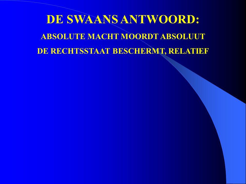 DE SWAANS ANTWOORD: ABSOLUTE MACHT MOORDT ABSOLUUT DE RECHTSSTAAT BESCHERMT, RELATIEF