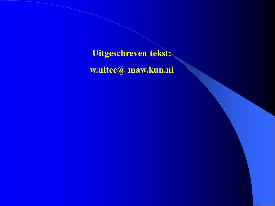 Uitgeschreven tekst: w.ultee@ maw.kun.nl