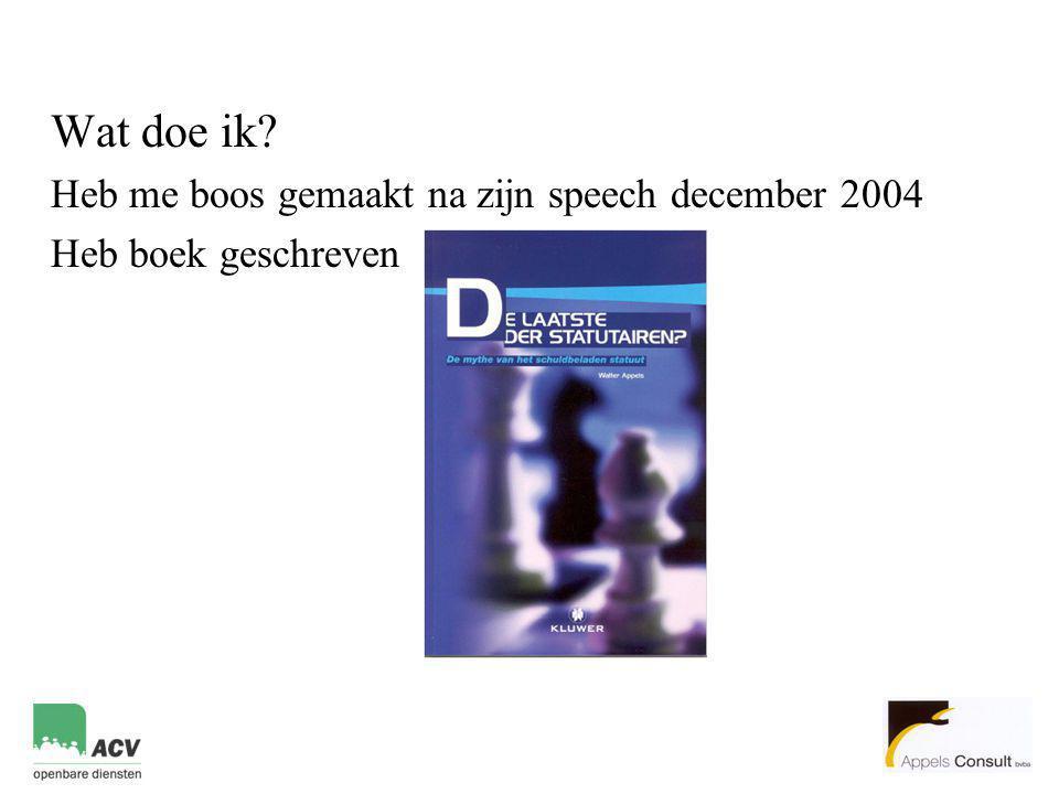 Wat doe ik? Heb me boos gemaakt na zijn speech december 2004 Heb boek geschreven