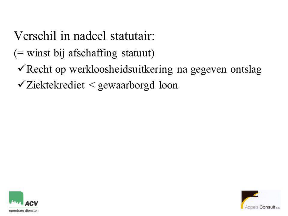 Verschil in nadeel statutair: (= winst bij afschaffing statuut)  Recht op werkloosheidsuitkering na gegeven ontslag  Ziektekrediet < gewaarborgd loo