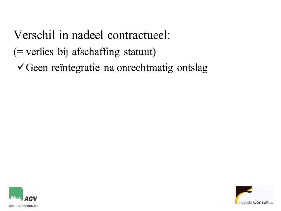 Verschil in nadeel contractueel: (= verlies bij afschaffing statuut)  Geen reïntegratie na onrechtmatig ontslag