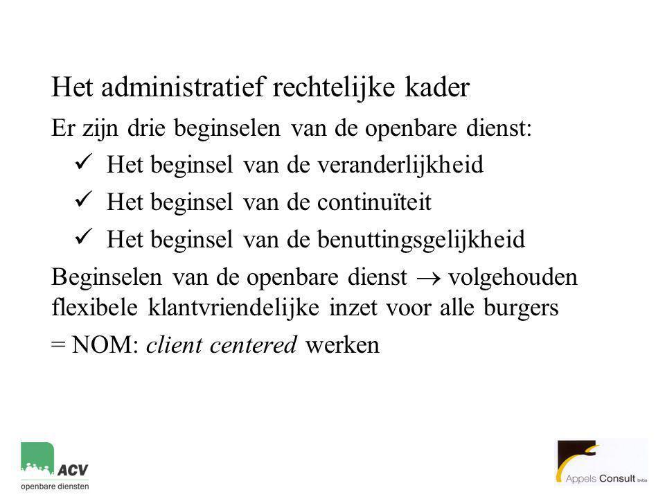 Het administratief rechtelijke kader Er zijn drie beginselen van de openbare dienst:  Het beginsel van de veranderlijkheid  Het beginsel van de cont