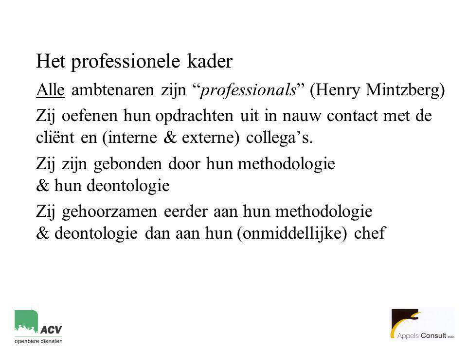 Het professionele kader Alle ambtenaren zijn professionals (Henry Mintzberg) Zij oefenen hun opdrachten uit in nauw contact met de cliënt en (interne & externe) collega's.