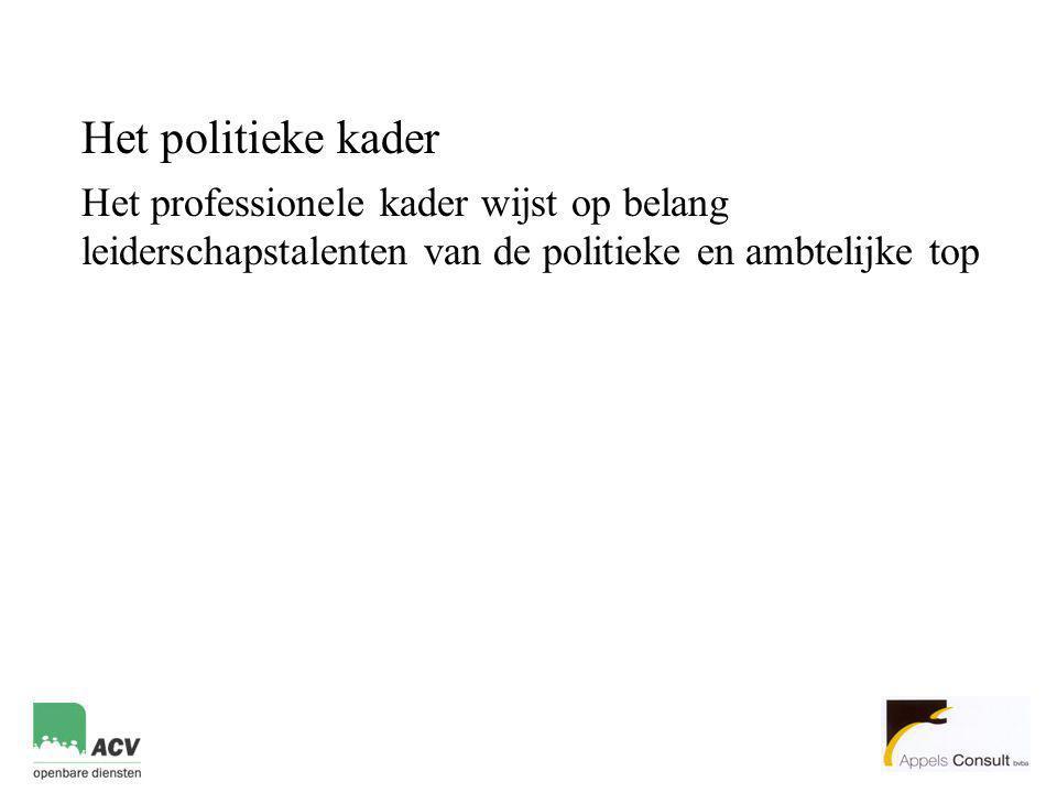 Het politieke kader Het professionele kader wijst op belang leiderschapstalenten van de politieke en ambtelijke top