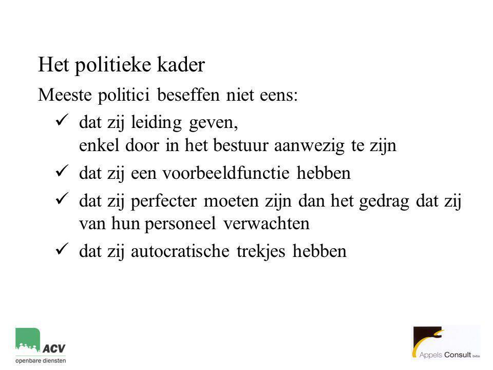 Het politieke kader Meeste politici beseffen niet eens:  dat zij leiding geven, enkel door in het bestuur aanwezig te zijn  dat zij een voorbeeldfun