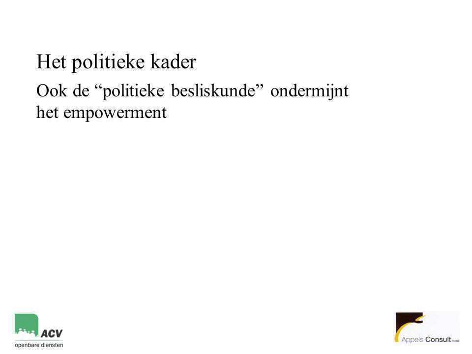 Het politieke kader Ook de politieke besliskunde ondermijnt het empowerment