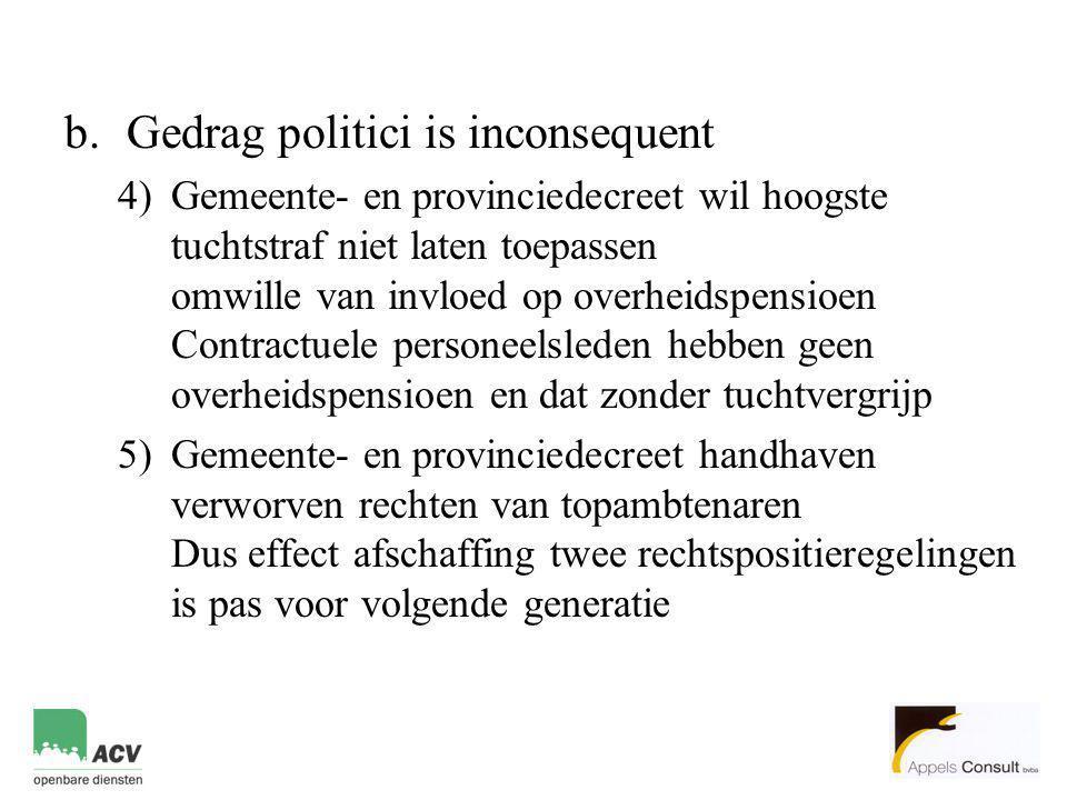b.Gedrag politici is inconsequent 4)Gemeente- en provinciedecreet wil hoogste tuchtstraf niet laten toepassen omwille van invloed op overheidspensioen