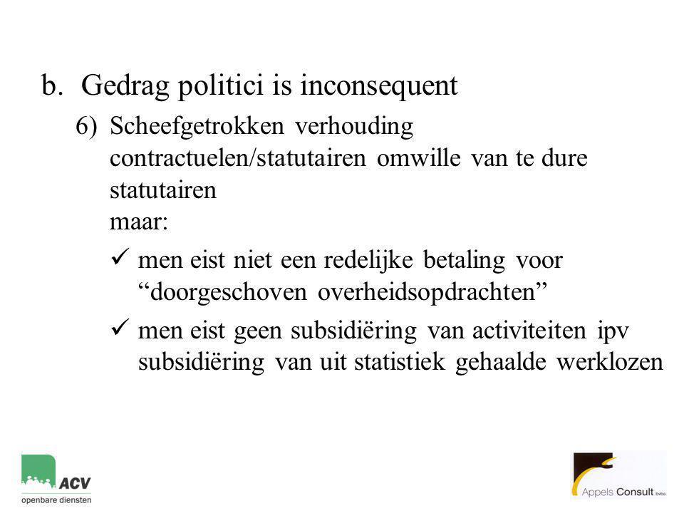 b.Gedrag politici is inconsequent 6)Scheefgetrokken verhouding contractuelen/statutairen omwille van te dure statutairen maar:  men eist niet een red