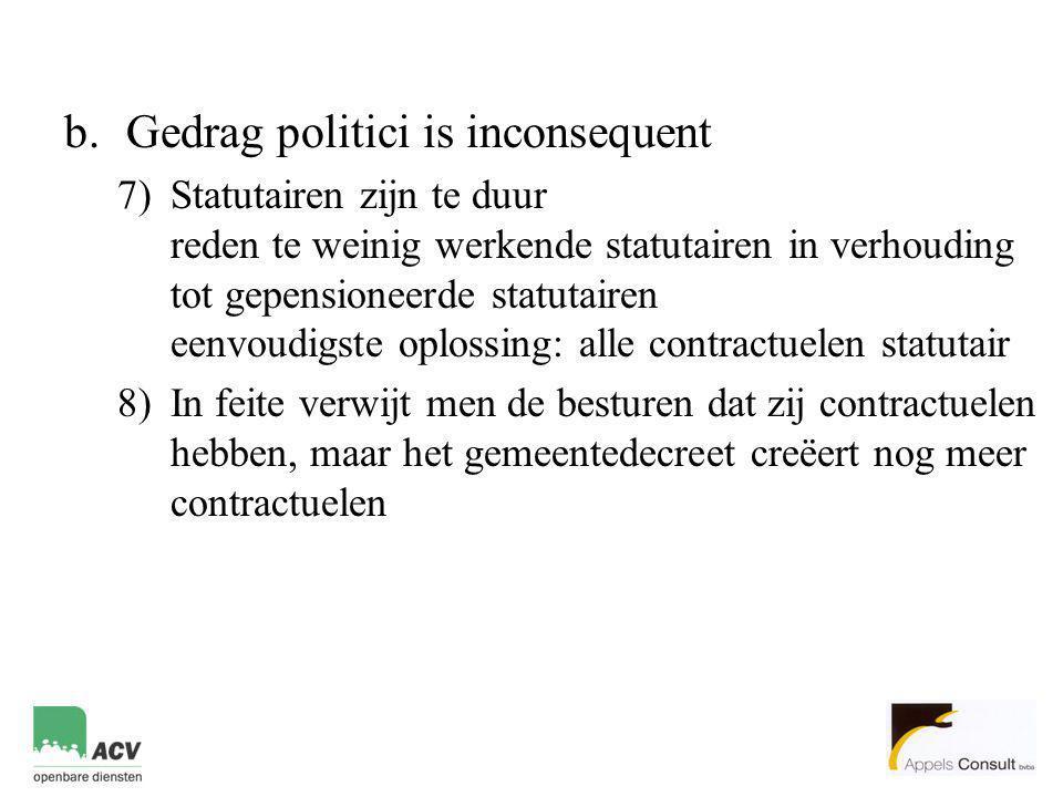 b.Gedrag politici is inconsequent 7)Statutairen zijn te duur reden te weinig werkende statutairen in verhouding tot gepensioneerde statutairen eenvoud