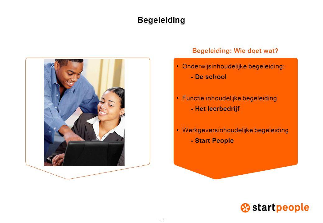 - 11 - Begeleiding •Onderwijsinhoudelijke begeleiding: - De school •Functie inhoudelijke begeleiding - Het leerbedrijf •Werkgeversinhoudelijke begelei