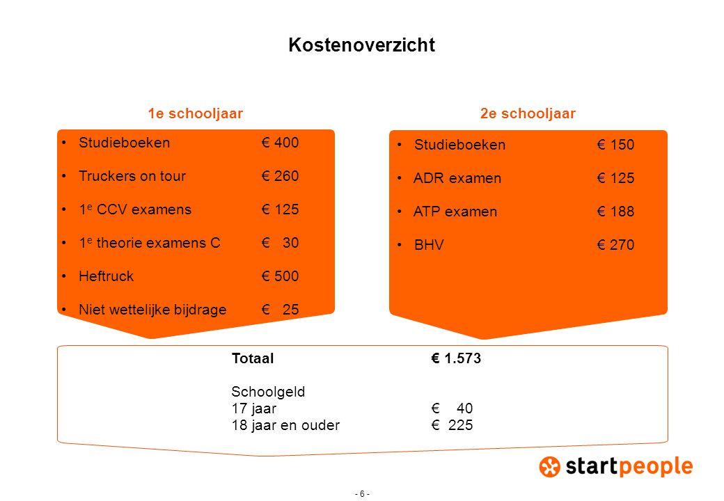 - 7 - Kosten rijbewijs C en CE Pakketten (1 uur rijles = 60 minuten): •Pakket C - 20 uur rijles + praktijkexamen - € 1.295 •Pakket CE - 15 uur rijles + praktijkexamen - € 1.175 Inclusief 1 e eigen verklaring