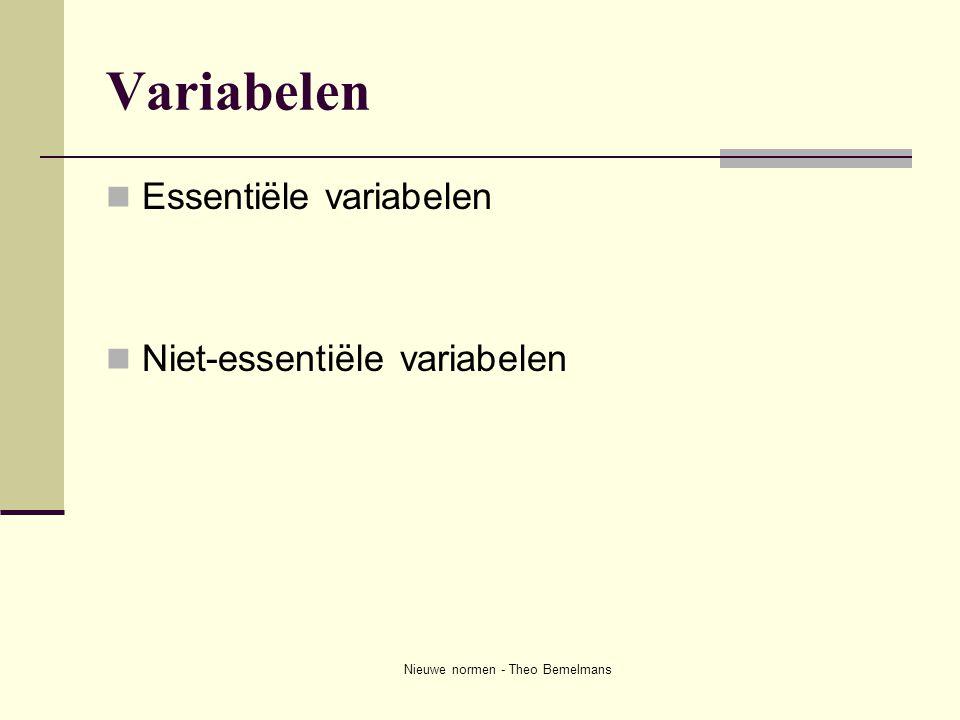 Nieuwe normen - Theo Bemelmans Variabelen  Essentiële variabelen  Niet-essentiële variabelen