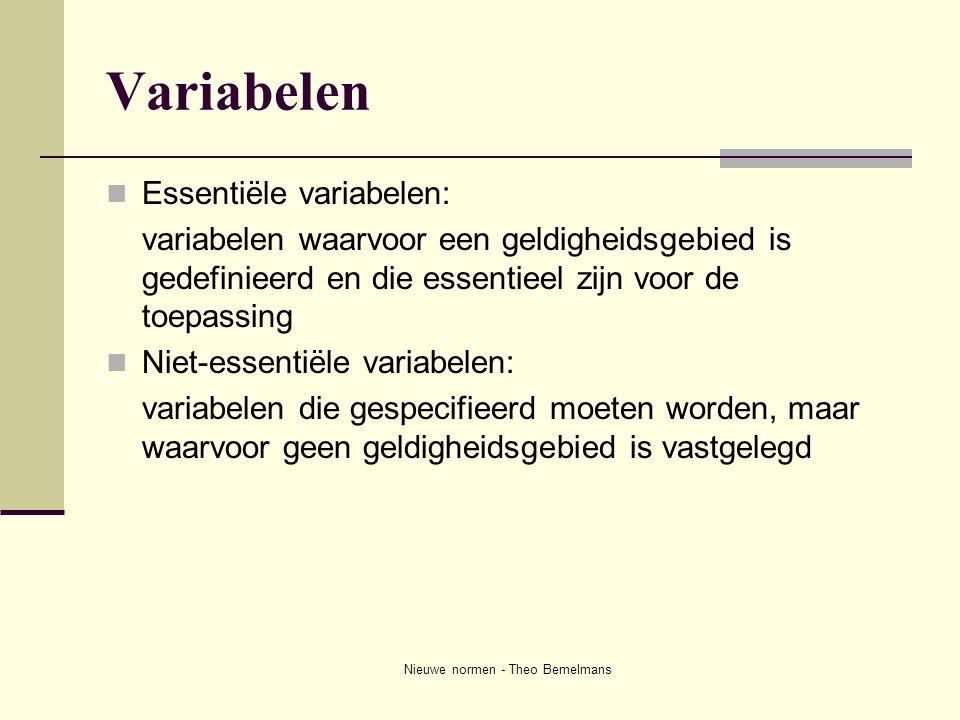 Nieuwe normen - Theo Bemelmans Variabelen  Essentiële variabelen: variabelen waarvoor een geldigheidsgebied is gedefinieerd en die essentieel zijn vo
